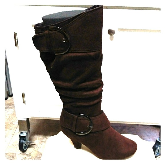 FASHION BUCKLES /& ZIPPER IN BROWN NEW WOMEN/'S CAUSAL SLOUCH MID-CALF FLAT BOOT